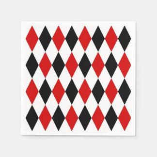 Red White Black Harlequin Diamond Pattern Disposable Napkin