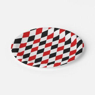 Red White Black Harlequin Diamond Pattern Paper Plate
