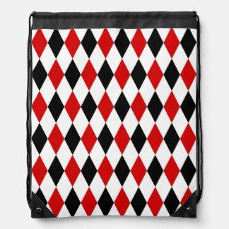 Red White Black Harlequin Diamond Pattern Cinch Bag