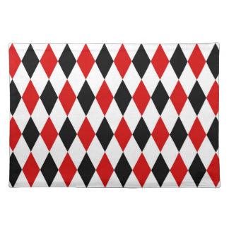Red White Black Harlequin Diamond Pattern Placemat