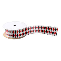 Red White Black Harlequin Diamond Pattern Satin Ribbon