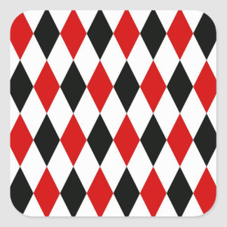 Red White Black Harlequin Diamond Pattern Square Sticker