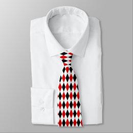 Red White Black Harlequin Diamond Pattern Tie