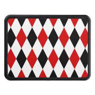 Red White Black Harlequin Diamond Pattern Trailer Hitch Covers