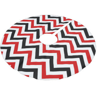 Red, White, Black Large Chevron ZigZag Pattern Brushed Polyester Tree Skirt