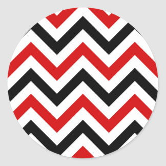 Red, White, Black Large Chevron ZigZag Pattern Classic Round Sticker