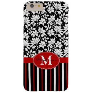 Red, white & black name / initial barely there iPhone 6 plus case