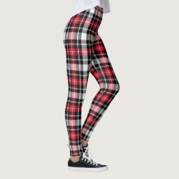 Red White Black Plaid Christmas Holiday Leggings