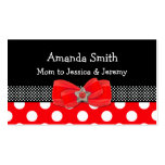 Red, White, & Black Polka Dot Mommy Card Business Card Templates