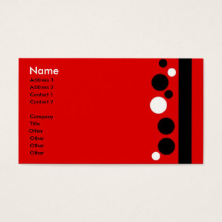 Red White Black Polka Dots with stripe Business Card