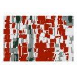 Red White Black Retro Painting Abstract Art Poster