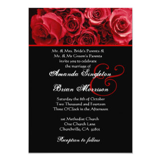 Red White Black Rose Bouquet Wedding 5x7 Paper Invitation Card