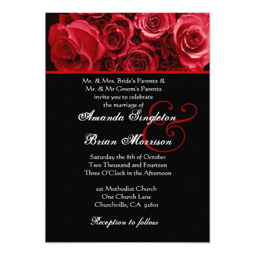 Red White Black Rose Bouquet Wedding 5x7 Paper Invitation Card