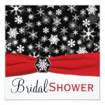 """Red, White, Black Snowflakes Bridal Shower Invite 5.25"""" Square Invitation Card"""