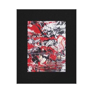 Red, White, Black splatter painting canvas print