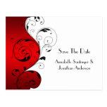 Red White Black Swirls Save The Date Postcard