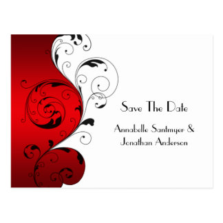 Red White Black Swirls Save The Date Postcard