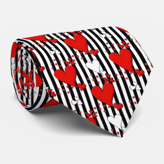 Red White Black Valentine Heart Men's Tie