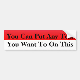 Red & White Blank Car Bumper Sticker