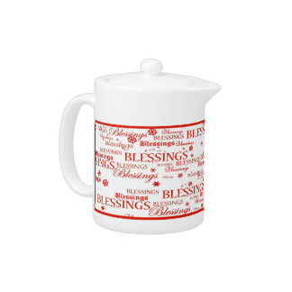 Red & White Blessings Holiday Tea Pot
