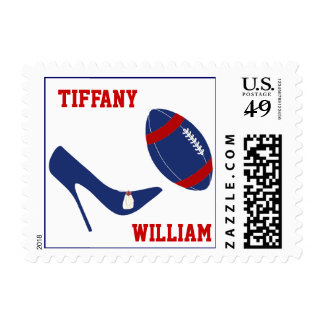 Red, White, & Bllue Football Themed Stamps