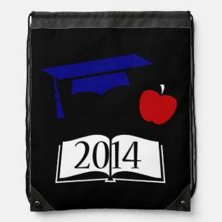 Red White Blue 2014 Graduation Cap and Book Drawstring Bag