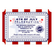 Red White & Blue 4th of July BBQ Invite at Zazzle