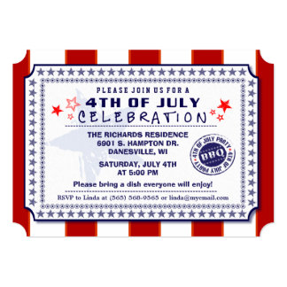 Red White & Blue 4th of July BBQ Invite