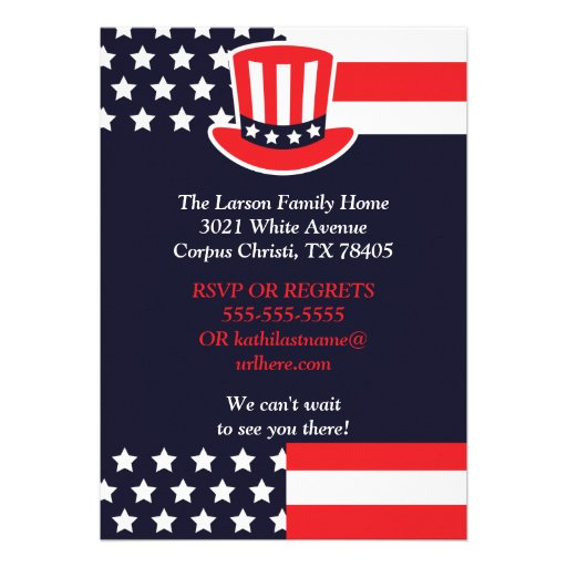 Red, White & Blue 4th of July Invitations (back side)