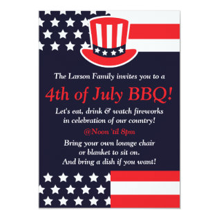 Red, White & Blue 4th Of July Invitations at Zazzle
