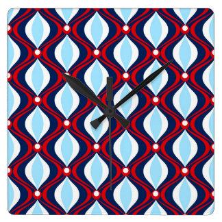 Red, White, & Blue 70s Retro Square Wall Clock