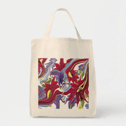 Red White & Blue Abstract Art Designer Bag