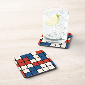 Red White Blue Abstract Coaster