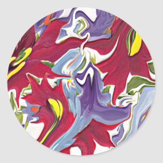 Red white & blue abstract floral design sticker