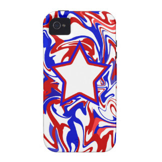 Red White Blue Abstract Swirls & Monogrammed Star Vibe iPhone 4 Cover
