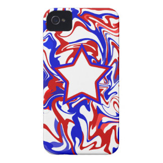Red White Blue Abstract Swirls & Monogrammed Star Case-Mate iPhone 4 Cases