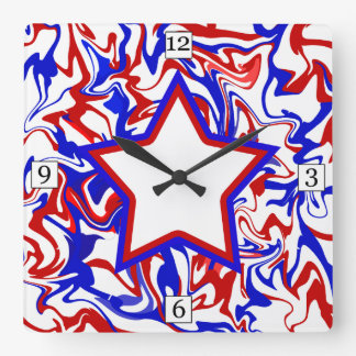 Red White Blue Abstract Swirls & Monogrammed Star Square Wall Clock