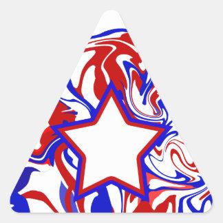 Red White Blue Abstract Swirls & Monogrammed Star Triangle Sticker