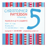 Red White Blue Age Number Birthday Party Card