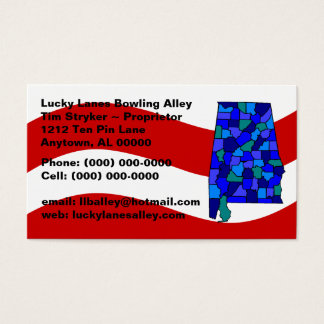 Red White Blue Alabama AL Map State Business Card