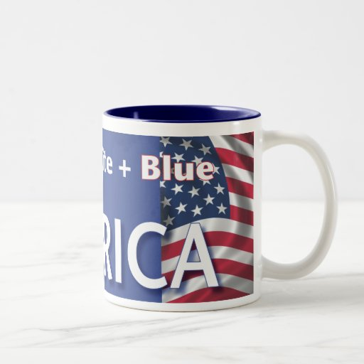 Red + White + Blue = America Two-Tone Coffee Mug