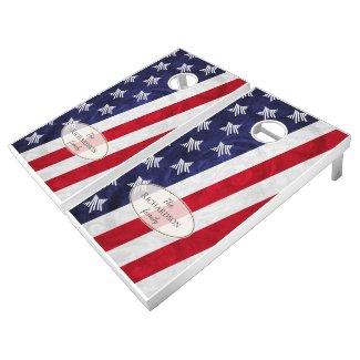 Red White Blue American flag family name Cornhole Set