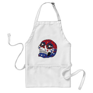 Red White Blue American Flag Patriotic Sugar Skull Adult Apron