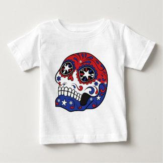 Red White Blue American Flag Patriotic Sugar Skull Baby T-Shirt