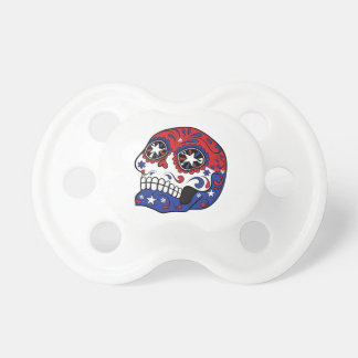 Red White Blue American Flag Patriotic Sugar Skull BooginHead Pacifier