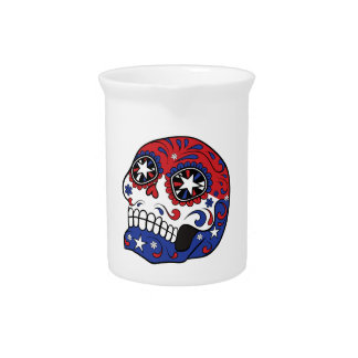 Red White Blue American Flag Patriotic Sugar Skull Drink Pitcher