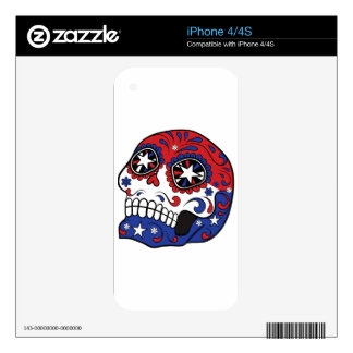 Red White Blue American Flag Patriotic Sugar Skull Skins For iPhone 4
