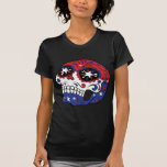 Red White Blue American Flag Patriotic Sugar Skull T-shirt at Zazzle