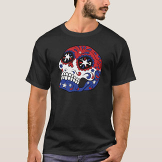 Red White Blue American Flag Patriotic Sugar Skull T-Shirt