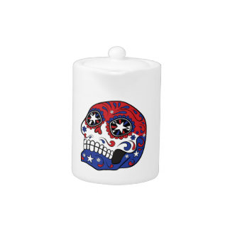 Red White Blue American Flag Patriotic Sugar Skull Teapot